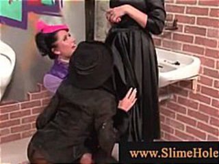 Bukkake ladies going at it in male bathroom
