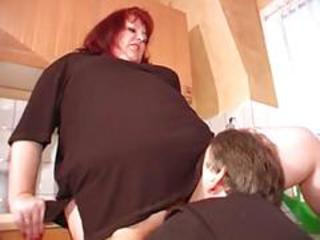 BBW Clothed Licking Mature Older Redhead