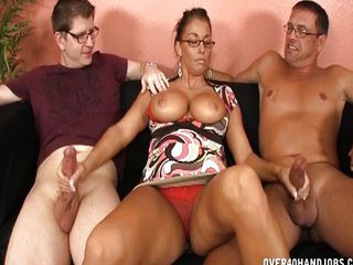 Big cock Big Tits Glasses Handjob MILF Threesome