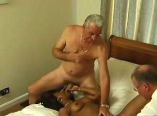 Blowjob Daddy Ebony Interracial Old and Young Threesome