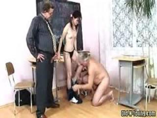 Daddy Old and Young School Student Teacher Teen Threesome