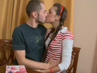 Kissing Pigtail Student Teen