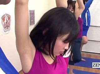 Subtitled Japanese yoga stretching class crazy erection _: gym teacher uniform