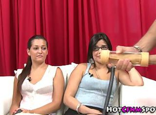 Amateur femdom babes judge a cumshot contest _: cfnm humiliation