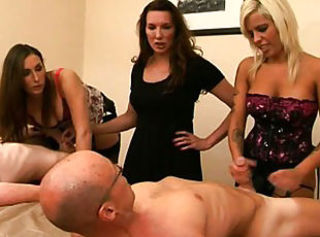 Group of femdoms humiliating subjects by tugging _: cfnm Humiliation voyeur