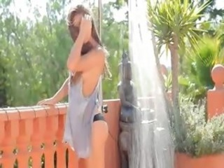 brunet have sexy outdoor shower