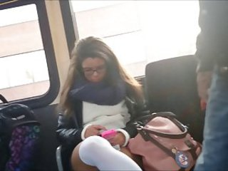 Sexy Student legs on the Bus with Face