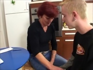 Kitchen Mature Mom Old and Young Redhead