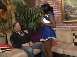 Cheerleader Chubby Ebony Interracial MILF Uniform