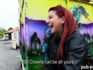 Amateur Cash Outdoor Public Redhead Teen