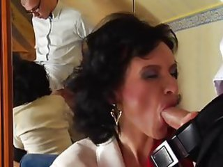 Blowjob Brunette Clothed Mature Mom Old and Young