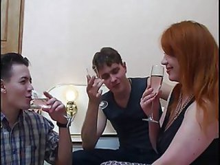 Amateur Drunk MILF Mom Old and Young Redhead Russian Threesome