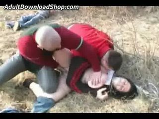 girl fucked by two guys in somewhere outdoors