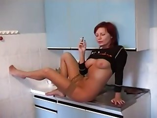 Amateur Kitchen Redhead Russian Smoking Stockings Teen