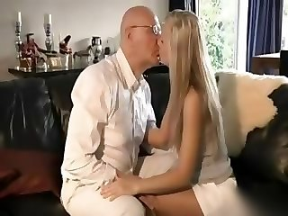 Daddy Daughter Kissing Long hair Old and Young Teen