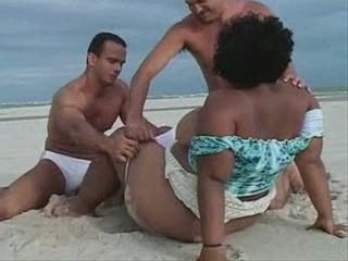 BBW Beach Brazilian Latina MILF Old and Young Outdoor Threesome