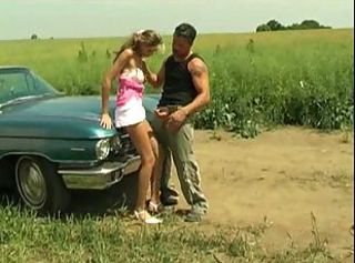 Horny guy cannot resist to bang fleshy hole on the car bonnet.