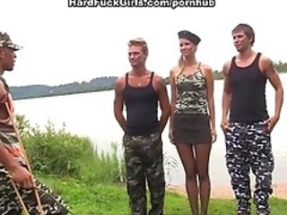 Army Beach Gangbang Outdoor Teen Uniform