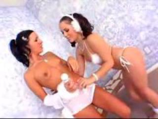 Blackhaired Girl With Tiny Tits In White Lingerie Getting Her Pussy Licked Fucked With Lolipop