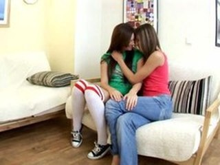 Adorable blonde and brunette lesbians kissing and getting naked and having lesbian sex and having great time
