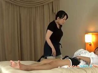 Mature Woman Massaging Guy Giving Handjob Getting Her Tits Rubbed O...