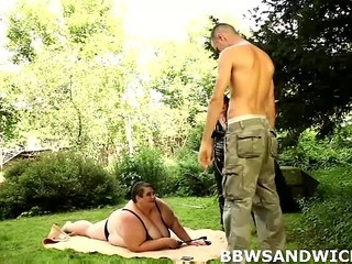 BBW Mature Mom Old and Young Outdoor Threesome