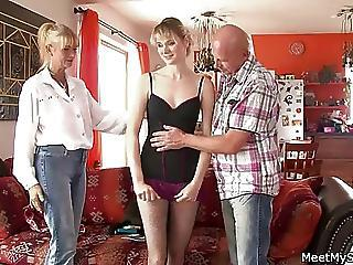 Daddy Daughter Family Mom Old and Young Teen Threesome