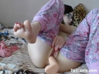 Dildo Glasses Masturbating Teen Toy Webcam