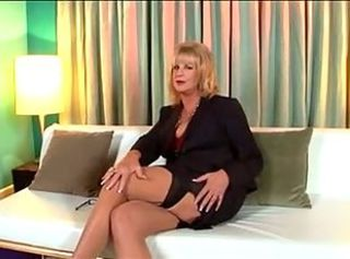 Hot Blonde Granny Solo Diddle on Sofa