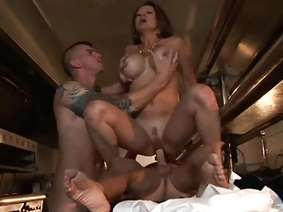 Big Tits Hardcore MILF Mom Old and Young Riding Silicone Tits Threesome