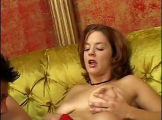 Busty brunette Gabriella gags on a massive white cock then fucks