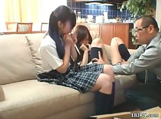 Daddy Old and Young Student Teacher Teen Threesome Uniform