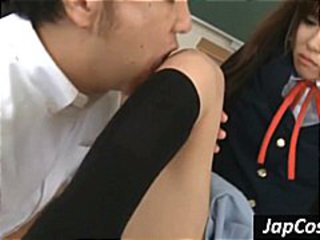 Sexy Oriental schoolgirl gets licked and fingered by the teacher