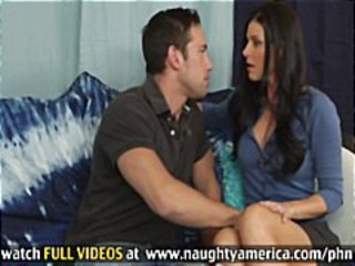 Sexy brunette MILF India Summers takes his cock hard for a facial