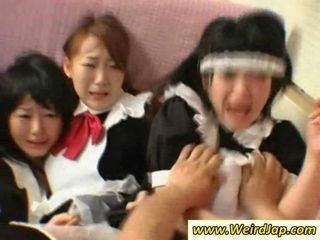 Hot Japanese maids gets fucked on the...