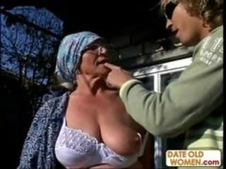 Granny gets reamed by young stud...
