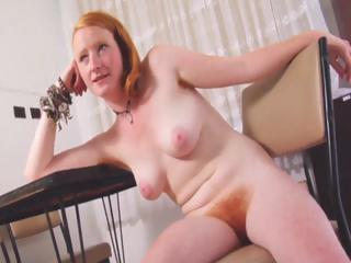 Naughty Fiery Redhead Strips And Shows Her Natural Red Furry Bush