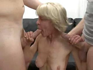 Skinny Granny Takes Two Cock