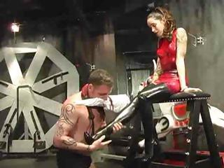 Dude Is Tied Up And This Babe's Slave As She Abuses And Tortures Him