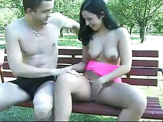Dark Haired Babe Is Getting Drilled To Her Delight On The Bench