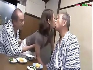 Young Asian Daughter Serves Daddy And His Friend Then Gives Him A Bath
