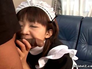 Asian Teen Maid Sucking On Cock Of Her Master
