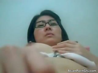 Sexy oriental girl getting tight pussy