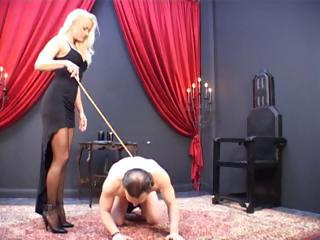Blonde Mistress Has Her Slave On The Gro...