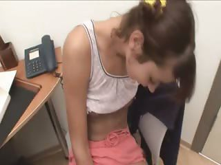 Office princess masturbating hairy pussy