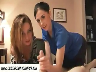 2 Sexy Babes Give Guy Handjob On Hotel R...