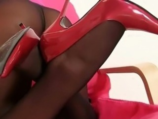Leggy babe Sharon weird stockings nylon fetish