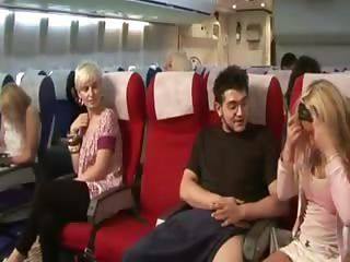 A little mile high jerk for this passenger from the horny ladies