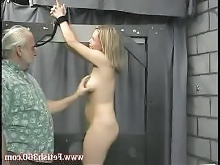 Blonde Slave Is Tied Up And Abused With This Old Guy Pulling Her Nipples