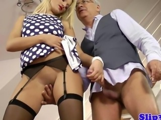 Blonde British Daddy European Handjob MILF Old and Young Stockings
